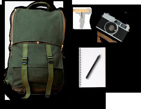Uno zaino e altri oggetti tipici da viaggio